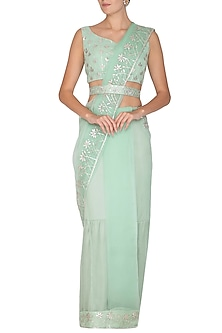 Mint Green Embroidered Pre-Draped Saree Set With Belt by Esha Koul