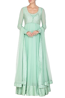 Mint Green Embroidered Jacket Anarkali With Dupatta by Esha Koul