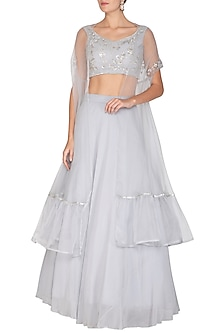 Grey Embroidered Blouse With Lehenga Skirt & Cape by Esha Koul