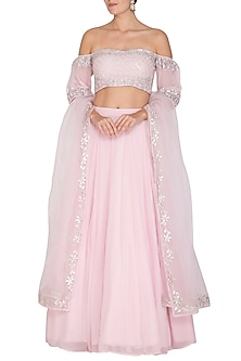 Blush Pink Embroidered Lehenga Set by Esha Koul