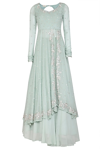 Ice Blue Embroidered Anarkali Set by Esha Koul