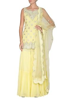 Lemon Yellow Embroidered Sharara Set by Esha Koul