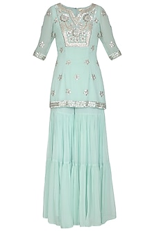 Aqua Blue Embroidered Sharara Set by Esha Koul