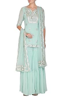 Aqua Blue Embroidered Sharara Set by Esha Koul