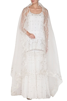White Embroidered Sharara Set by Esha Koul