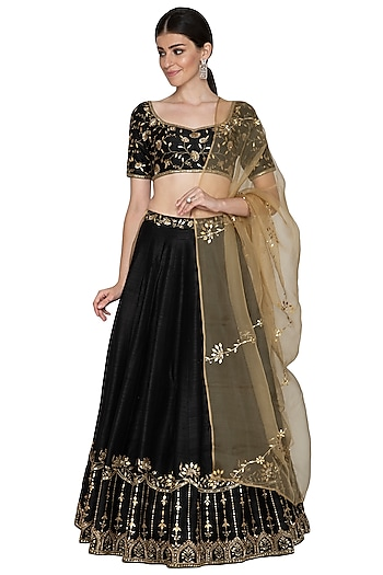 Black Embroidered Lehenga Set by Esha Koul