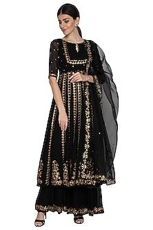 Black Embroidered Anarkali Set by Esha Koul