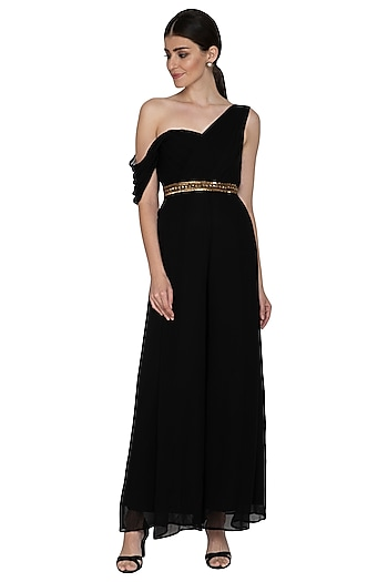 Black Embroidered Georgette Jumpsuit With Belt by Esha Koul