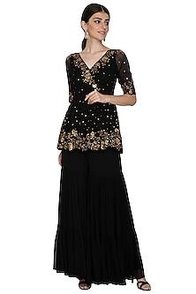 Black Embellished Top With Sharara Pants by Esha Koul