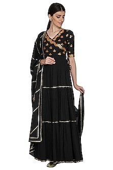 Black Embellished Anarkali With Dupatta by Esha Koul