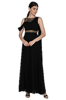 Black Embellished Jumpsuit With Belt by Esha Koul