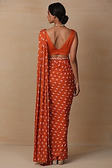 Rust Printed Saree Set by Esha Koul