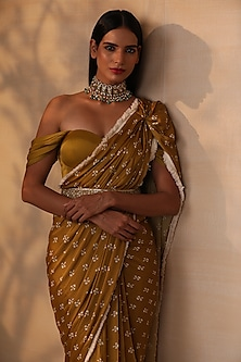Mustard Printed Pre-Draped Saree Set by Esha Koul