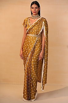 Mustard Pre-Draped Saree Set by Esha Koul