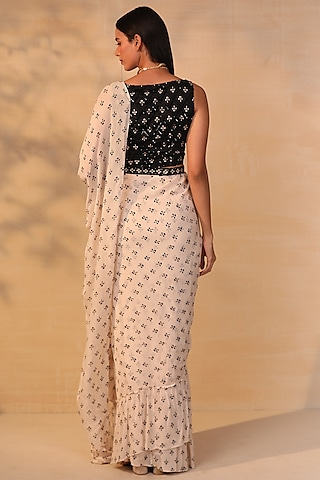 White Embroidered Ruffled Saree Set by Esha Koul