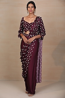 Purple Printed Saree Set by Esha Koul