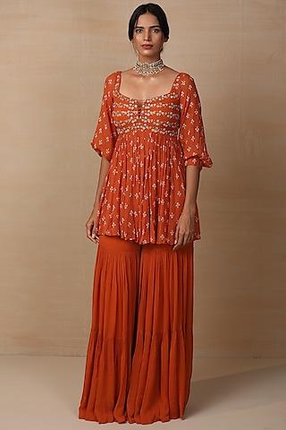 Rust Embroidered Sharara Set by Esha Koul