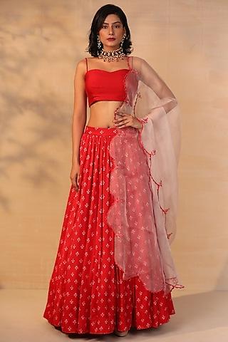 Red Floral Printed Skirt Set by Esha Koul