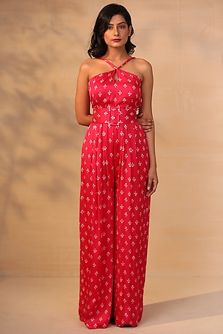 Hot Pink Printed Jumpsuit With Belt by Esha Koul