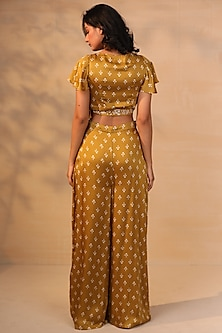 Mustard Printed Crop Top With Pants by Esha Koul