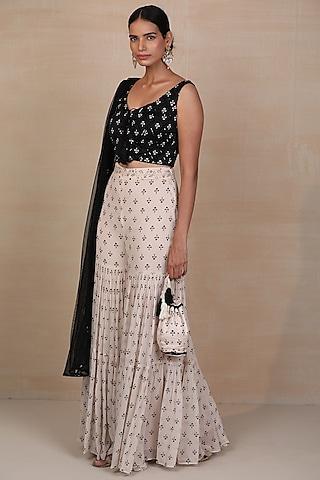 Black & Off White Embroidered Sharara Set by Esha Koul