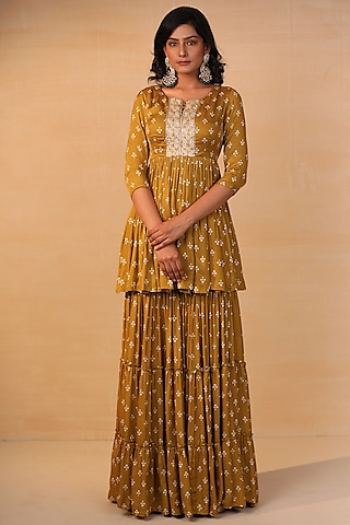 Mustard Printed & Embroidered Sharara Set by Esha Koul