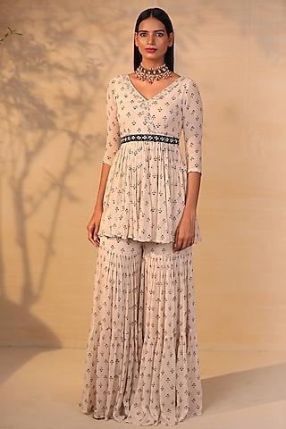 Off White Printed & Embroidered Gharara Set by Esha Koul