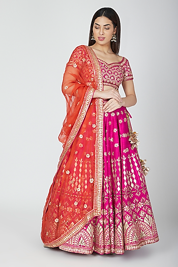 Fuchsia & Orange Embellished Lehenga Set by Esha Koul