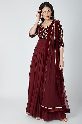 Wine Embellished Anarkali Set by Esha Koul
