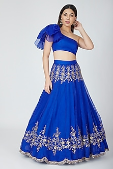 Electric Blue Embellished Skirt With Crop Top by Esha Koul