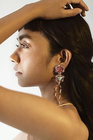 Rose Gold Finish Dangler Earrings Swarovski Crystals by ESME