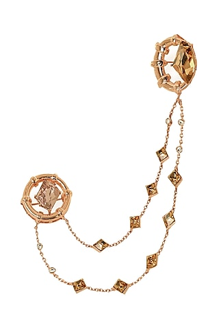 Rose Gold Finish Swarovski Crystal Brooch by ESME