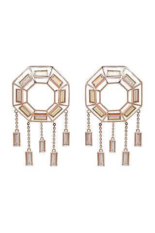 Rose Gold Finish Baguette Swarovski Crystal Earring by ESME