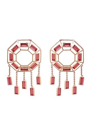 Rose Gold Finish Pink Baguette Swarovski Crystal Earrings by ESME