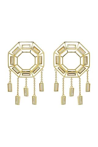 Gold Finish Baguette Swarovski Crystal Dangler Earrings by ESME