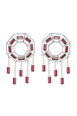 Silver Finish Baguette Swarovski Crystals Earrings by ESME