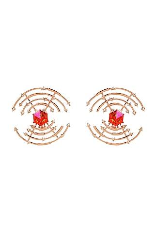 Gold Finish Swarovski Crystal Earrings by ESME