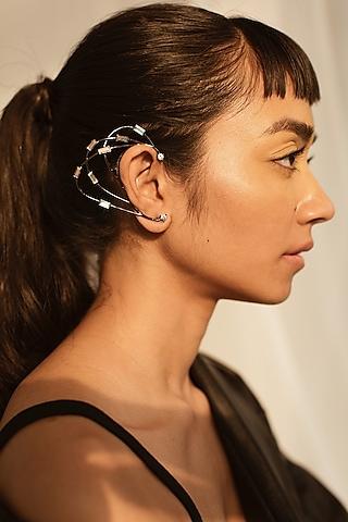 Gunmetal Finish Baguette Crystal Earrings by ESME