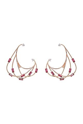 Rose Gold Finish Baguette Crystal Earrings by ESME