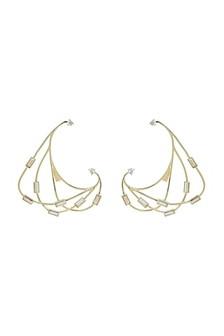 Gold Finish Earrings With Baguette Crystals by ESME