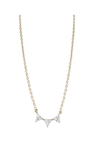 Gold Finish Swarovski Pendant Necklace by ESME