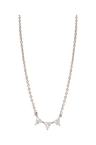 Rose Gold Finish Swarovski Crystal Pendant Necklace by ESME