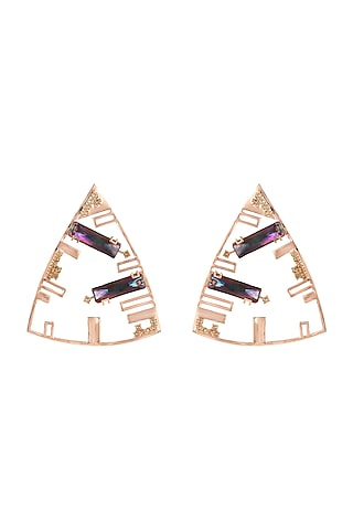Rose Gold Finish Dangler Earrings With Swarovski Crystals by ESME