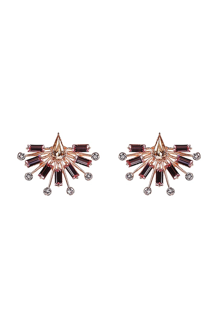 Gold Finish Baguette Stud Earrings by ESME