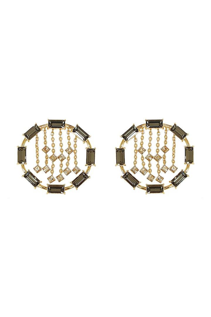 Gold Finish Swarovski & Baguette Earrings by ESME