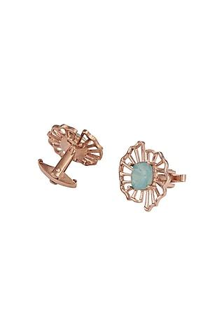 Rose Gold Finish Cufflinks With Swarovski Crystals by ESME