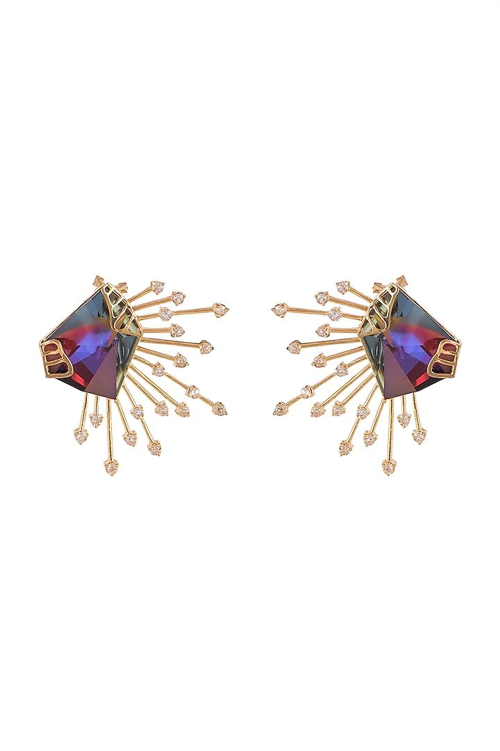 Gold Finish Swarovski Stud Earrings by ESME