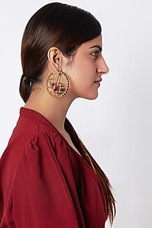 Gold Finish Swarovski Hoop Earrings by ESME