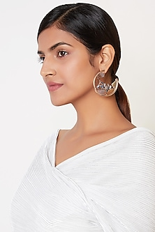Rose Gold Finish Hoop Earrings by ESME