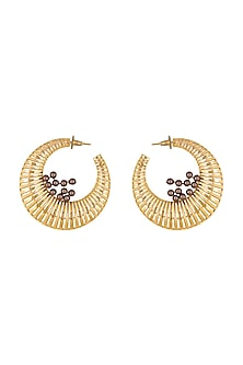 Gold Finish Swarovski Hoop Earrings by ESME